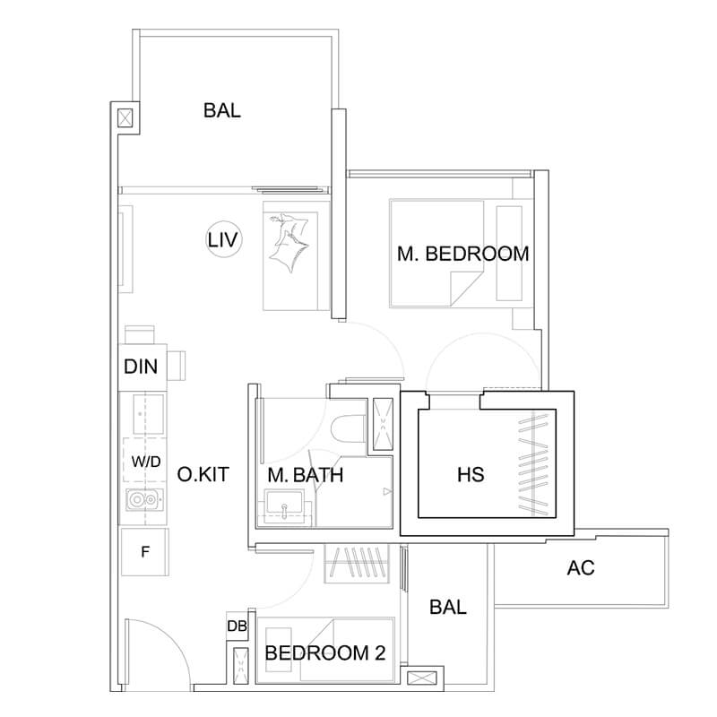 2 Bedroom Type B2 527sqft